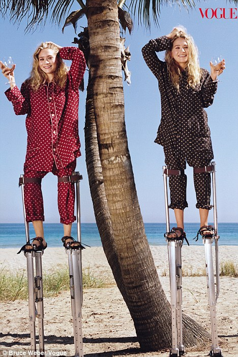 Ironic: Mary-Kate and Ashley Olsen posed for the April 2011 edition of Vogue in polka-dot pyjamas
