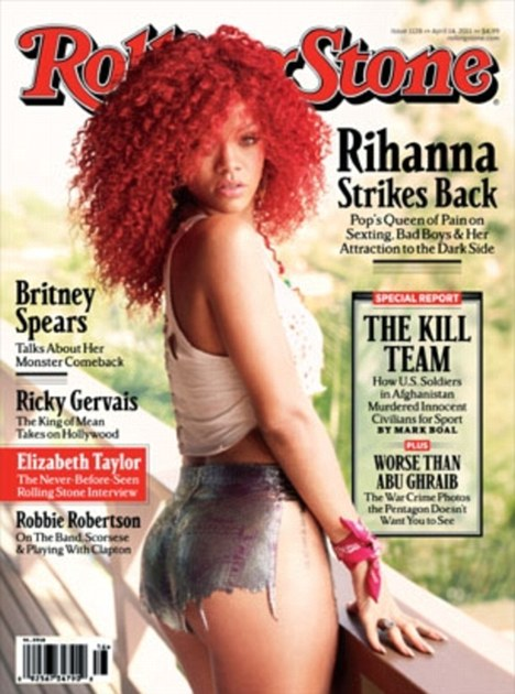 Now that's a bum note! Singer Rihanna graces the cover of Rolling Stone in spray-on hot pants