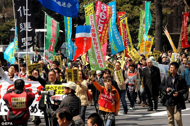 Ill feeling: Anti-nuclear protesters stage a demonstration against nuclear energy and the Tokyo Electric Power Co in Tokyo