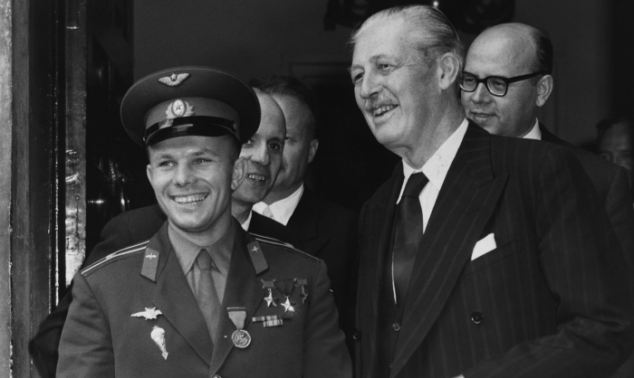 Honoured: The rocket is named after Yuri Gagarin, here with British Prime Minister Harold MacMillan, who was internationally feted after he became the first man to journey into space