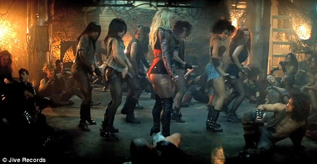 To the left, to the right: Britney and her dancers strut around the makeshift stage
