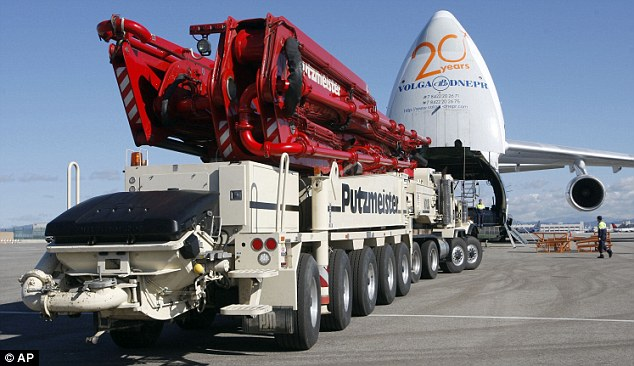 95-ton: The heavy-duty machinery is one of two being flown to Japan to try and avert the nuclear crisis in Fukushima
