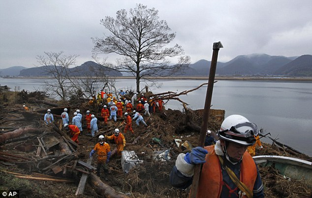 Disaster: Firemen carry out a search for bodies in Ishinomaki. As many as 25,000 people have been killed in the earthquake and tsunami