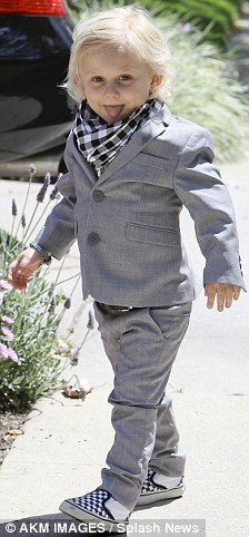 Trendy: Gwen and Gavin Rossdale's children, Zuma, two, and Kingston, four looked smart in suits as they visited their grandparents