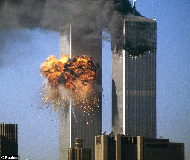 Atrocity: The World Trade Center south tower bursts into flames after being struck by hijacked United Airlines Flight 175 on 9/11