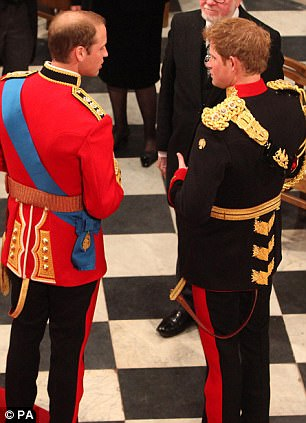 Prince William (left) and his best man Prince Harry (right) inside Westminster Abbey