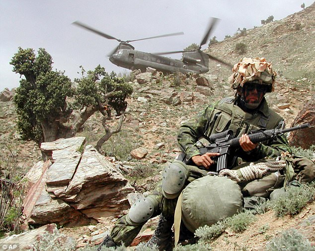 On the attack: Canadian troops were deployed in the Tora Bora valley region as part of the allied attempt to capture Bin Laden