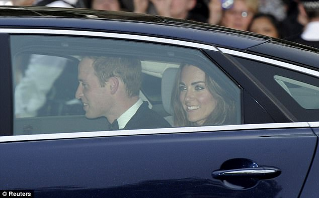 A happy and relaxed William made the short journey along The Mall in a Jaguar car with Prince Charles and Camilla closely behind