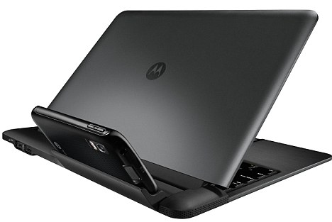 'Lapdock': This looks like a slimline laptop but has no computer processor - instead, the phone sits in a cradle while the dock is used like a normal laptop