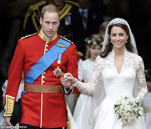 What a difference a week makes: Kate, the Duchess of Cambridge, on her wedding day last Friday to Prince William