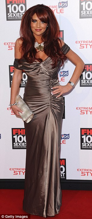 Glamour girl: The Only Way Is Essex star and FHM girl Amy Childs wore a brown metallic evening gown for her turn on the red carpet
