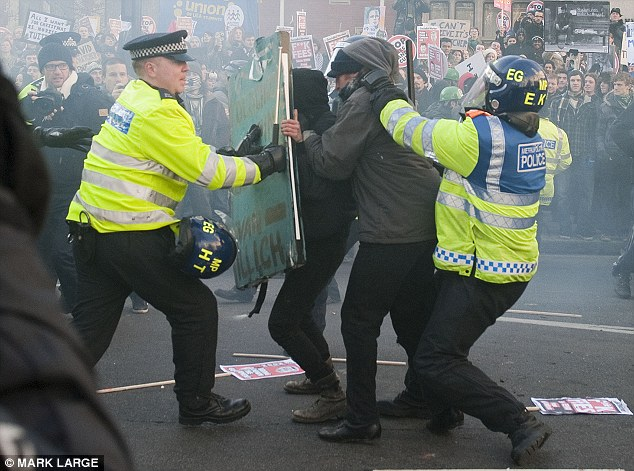 Trouble ahead: Police have refused to rule out using Geotime software during periods of unrest, such as the student riots of 2010