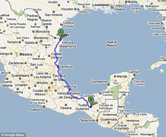 Long journey: It is at least an 18-hour drive from Tuxtla Gutierrez to the U.S. border
