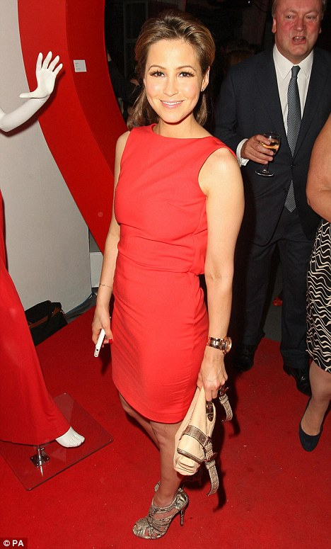 Lady in red: Rachel Stevens was looking sleek in a red shift dress for the bash, held at Victoria House in Holborn