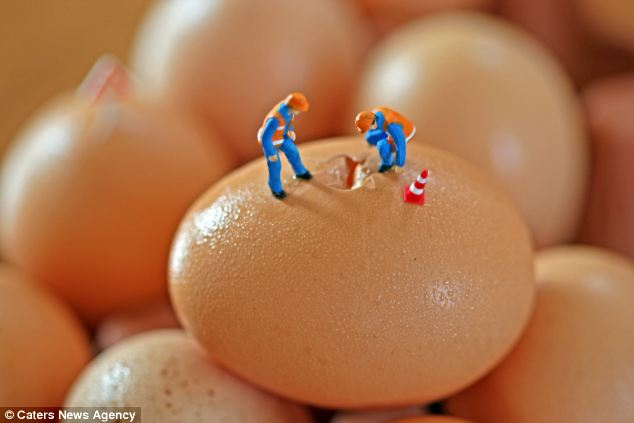 In life, you've got to break a few eggs: The miniature people appear to be investigating what is down the hole
