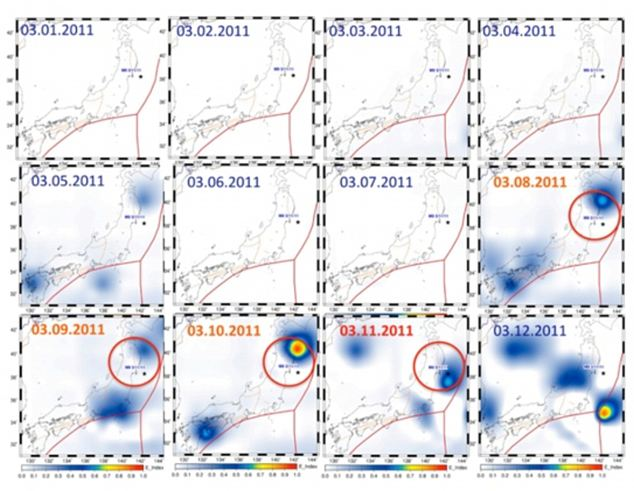 Satellite images showing changes in the heat of the atmosphere above the epicentre of the March 11 earthquake between March 1 and March 12. The total electron content in the ionosphere increased dramatically before the quake