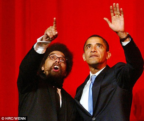 Harsh words: Professor Cornell West, seen here with then-senator Barack Obama on the campaign trail in New York, has turned on the president