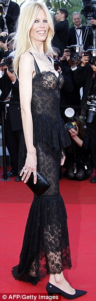 Vanishing curves: German supermodel Claudia Schiffer looked gaunt and thin at the Cannes Film Festival premiere of This Must Be The Place