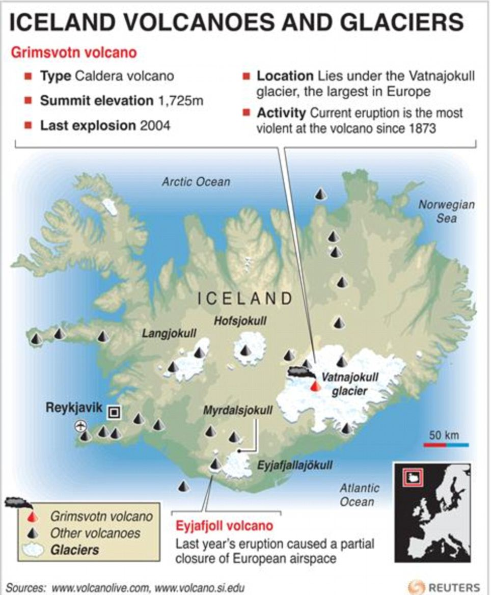 Graphic of Iceland locating the erupting Grimsvoth volcano and other main volcanoes and glaciers