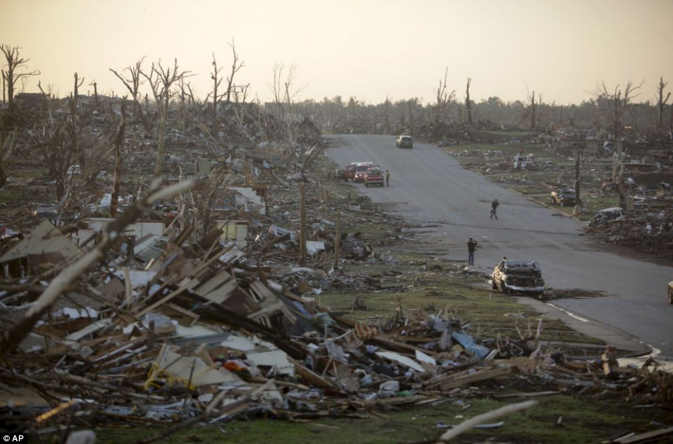 Desolation: A residential neighbourhood in Joplin is seen after it was levelled by the tornado