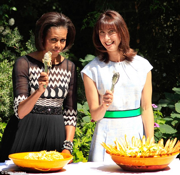 US first lady Michelle Obama (L) and Samantha Cameron