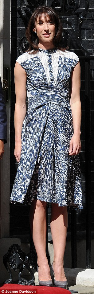 Big guns: Samantha Cameron's crisp graphic print dress by Peter Pilotto was borrowed