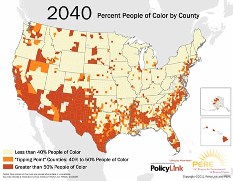 National majority: By 2042, the U.S. will be a majority of people of colour. This changing map was produced by PolicyLink, a national research agency