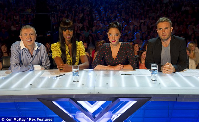 First day at work: Kelly, Tulisa and Gary take their seats next to returning judge Louis Walsh
