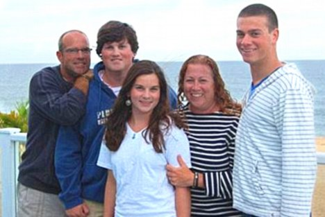 One big happy: The Picoult family (left to right): Father Tim, son Jake, 17, and daughter Sammy, 15, with Jodi and Kyle