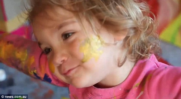 Protegee: Aelita Andre looks like any other four-year-old having fun with her paints, but unlike other children, her paintings are worth thousands