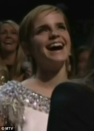 Jaws to the floor: Reese was left open mouthed as she watched on from the audience, as was straight-laced Harry Potter star Emma Watson