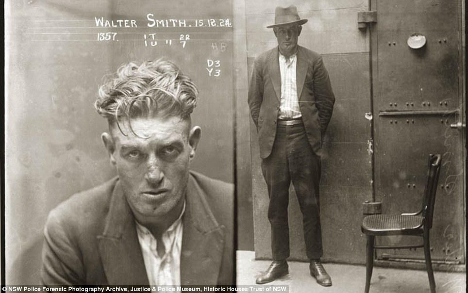 Rugged: Walter Smith is listed in the NSW Police Gazette, 24 December 1924, as 'charged with breaking and entering the dwelling-house of Edward Mulligan