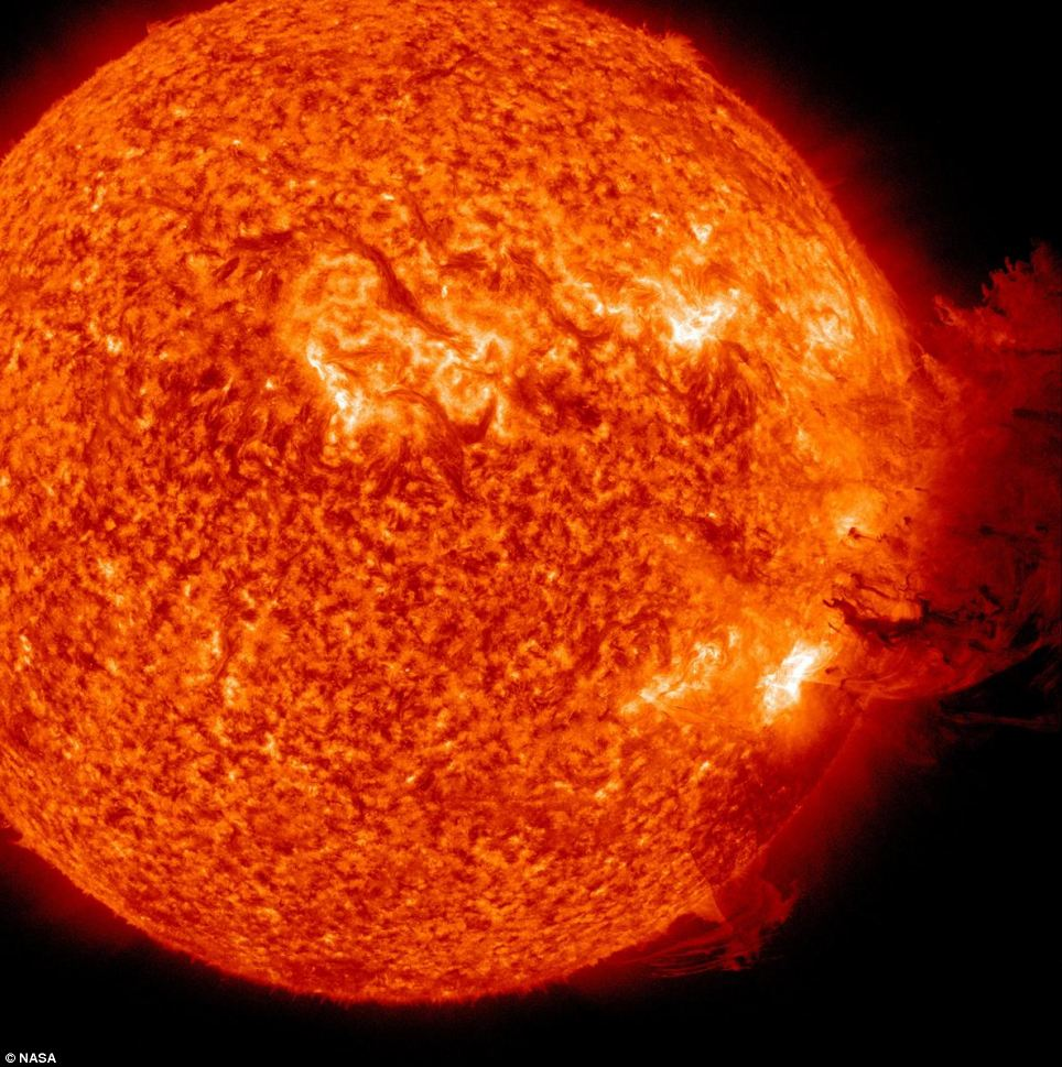 Blast furnace: Billions of tons of charged plasma fell back on to the sun's surface in a combination of a solar flare, a coronal mass ejection and a minor radiation storm