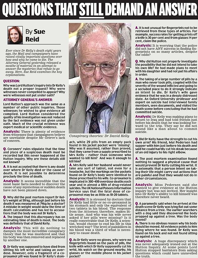 Dr David Kelly Attorney General refuses full inquest into