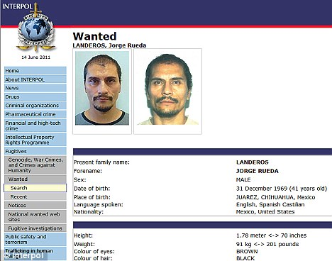 Warrant: Landeros says he did not kill Ms Marcum, but is on Interpol's wanted list