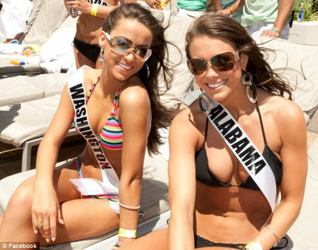 Achievements: The beauty queen, pictured in Las Vegas this week with Miss Washington, says she simply wants to do her best in the Miss USA pageant finale on Sunday