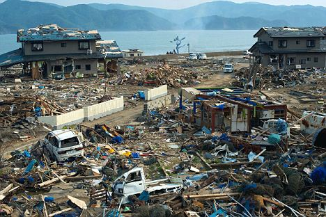 No change: The wrecked port of Onagawa looks as bad today as it did in the days after the tsunami and earthquake