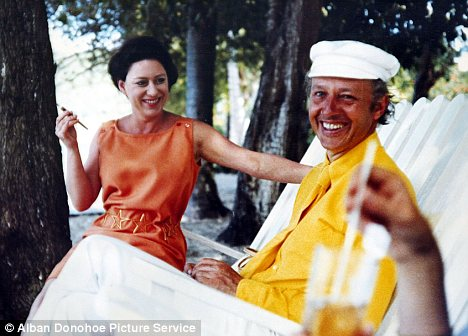 Friends: Princess Margaret and Lord Glenconner pictured on the island of Martinique