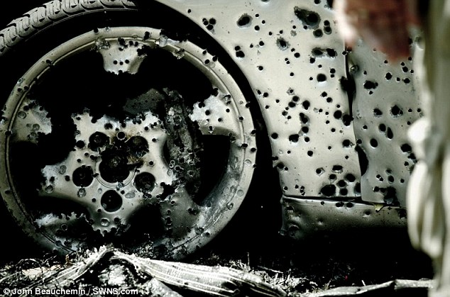 Ready for the junkyard: Even the spokes were shot off the wheel's alloys