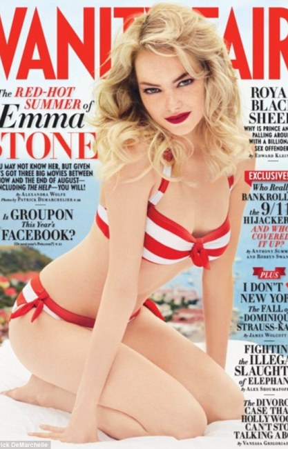 Summer fun: Emma Stone poses in a cute striped bikini on the cover of August's Vanity Fair magazine