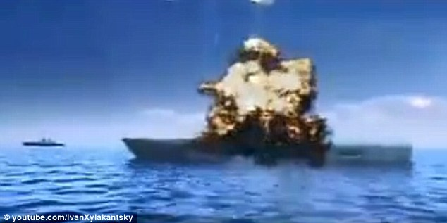 Mission accomplished: The aircraft carrier is targeted and blasted with missiles off the coast of Taiwan