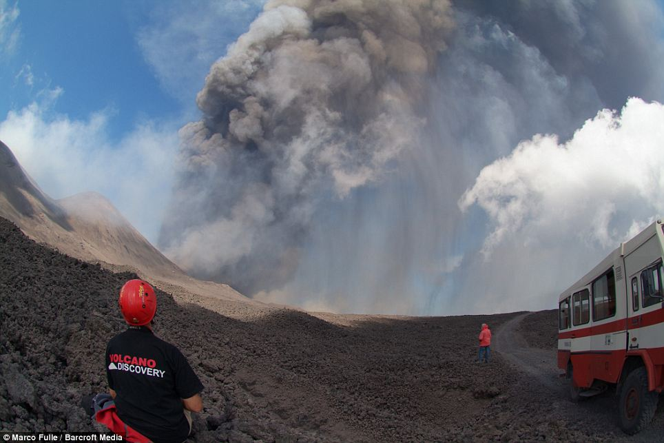 Shortlived: The volcano spewed lava on to its south-eastern slopes and winds swept ash further afield