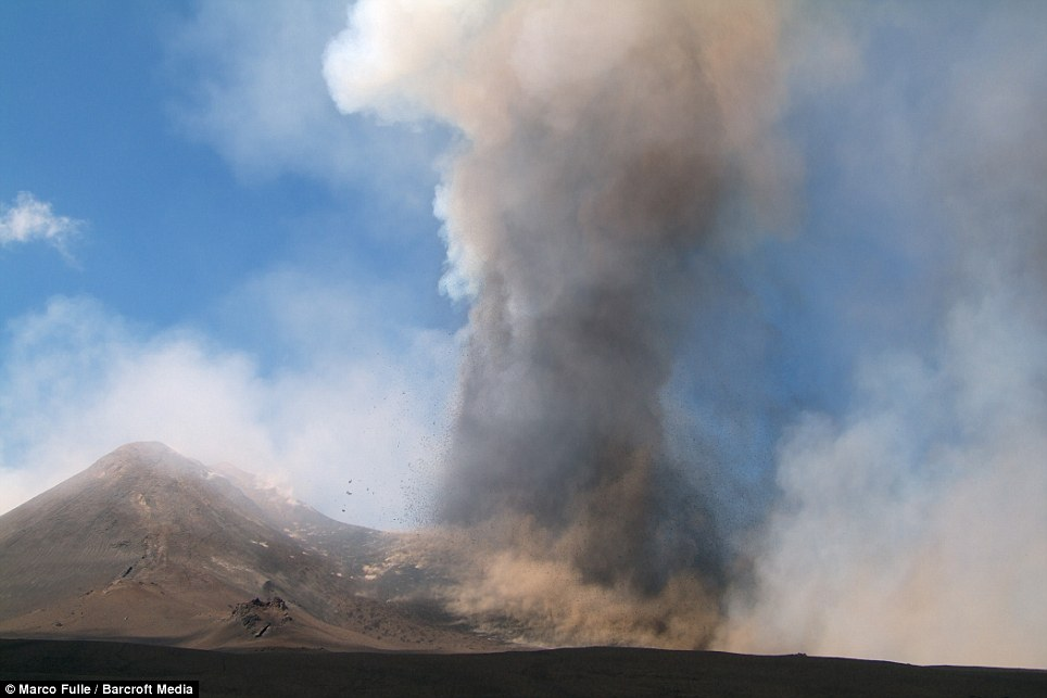 Strong: An eruption on Mount Etna spews ash and lava