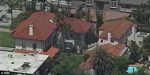 Sprawling: The mansion where Nalepa's body was found, which is owned by pharmaceutical millionaire Jonah Shacknai