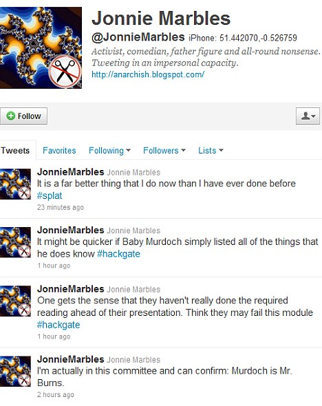 Boast: Jonnie Marbles had been tweeting from inside the Select Committee hearing