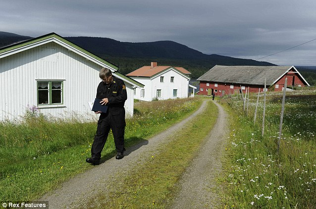 Police at the home of Breivik, a farm at Ostre Asta near Oslo, where he allegedly planned the entire massacre