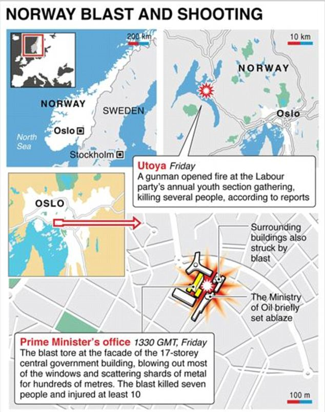 Graphic showing attacks in Norway