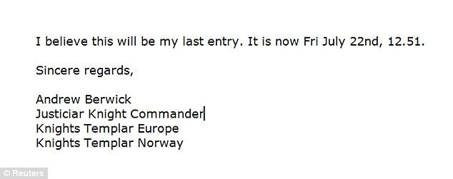 Norway Oslo 2011Terrorist Conservative Christian Anti-Muslim