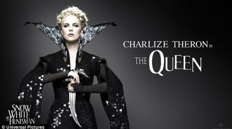 Ready for battle: Charlize Theron co-stars as the evil queen