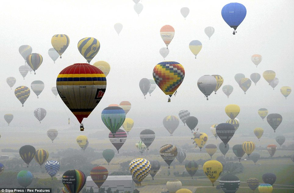 Record breakers: The magical moment a staggering 343 hot air balloons took to the air at the same time